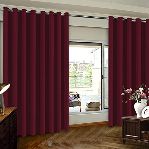 Burgundy Velvet Curtains - Sliding Door Curtain Drapes Blackout Wide Sliding Door Curtains - Insulated Noise Reduction Drapes, Grommet Top Room Divider Curtain, Burgundy, 8.3ft Wide x 8ft Tall (100inch W x 96inch L), One Panel