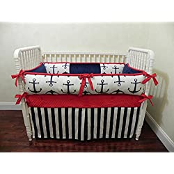 Nursery Bedding, Baby Crib Bedding Set Duff, Boy Baby Bedding, Nautical Crib Bedding, Navy Baby Bedding, Navy and Red Crib Bedding - Choose Your Pieces