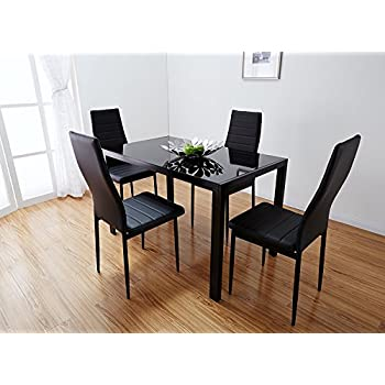Bonnlo Modern 5 Pieces Dining Table Set Glass Top Dining Table And Chair  Set For 4 Person,Black