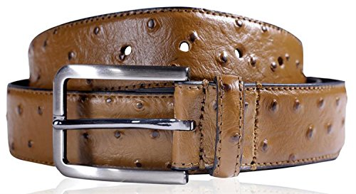 Click Selfie New Mens 35mm Wide Real Reptile Skin Leather Pin Buckle Belts Mustard - Jeans Trouser Waist Belts XL
