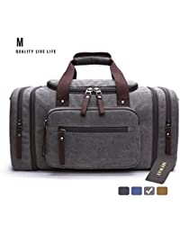 Canvas Duffle Bag Travel Luggage Weekender Leather Trim Handbag with Strap