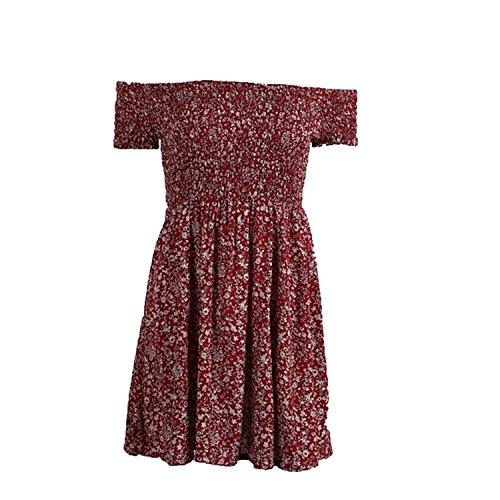 Sexy Dress Off Shoulder Floral Slash Neck Casual Beach Women Dress Plus Size Mini Elastic Dresses,Burgundy,S