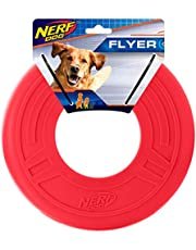 Nerf Dog Atomic Flyer Dog Toy, Frisbee, Lightweight, Durable and Water Resistant, Great for Beach and Pool, 10 inch Diameter, for Medium/Large Breeds, Single Unit, Red