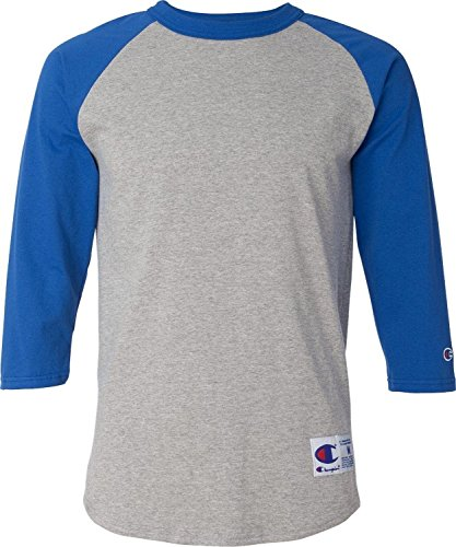 (Champion Men's 6.1 oz. TaglesRaglan Baseball T-Shirt-L-Oxf Gry/Team Blu)
