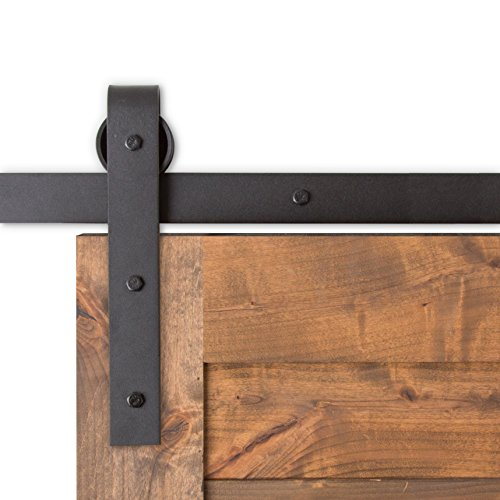 USA Made 8 ft Sliding Wood Barn Door Hardware Kit Artisan Hardware Classic Barndoor System With 8ft Track (Black)