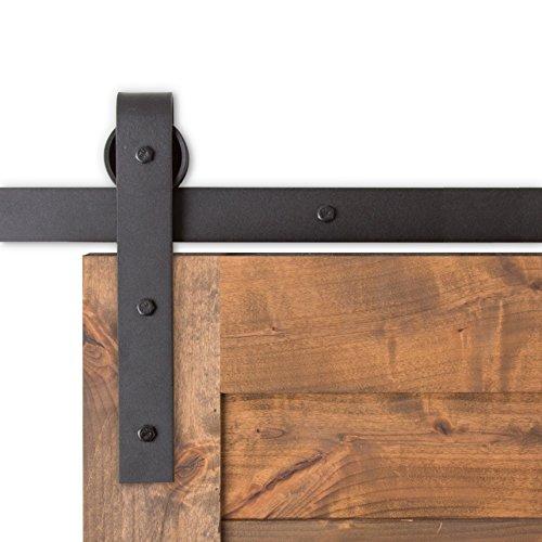 USA Made 8 ft Sliding Wood Barn Door Hardware Kit Artisan Hardware Classic Barndoor System With 8ft Track (Black)