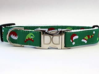 product image for Diva-Dog 'Elf Hats' Custom Christmas Dog Collar with Plain or Engraved Buckle - Teacup, XS/S. M/L, LG