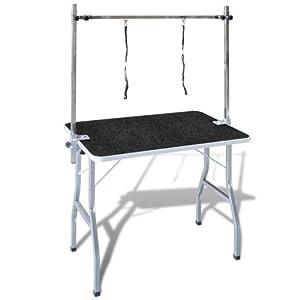 vidaXL Table Toilettage Ajustable pour Chiens avec 2 Potences