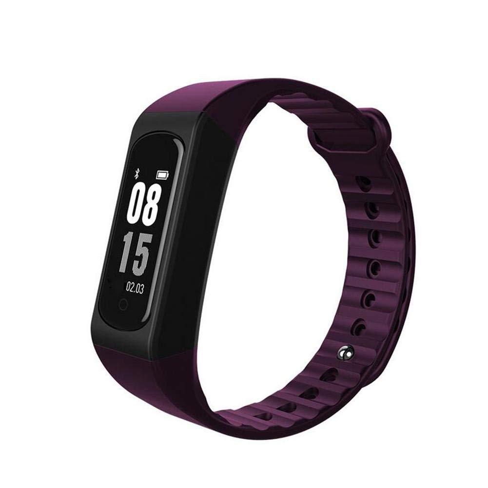 MEIDI Home Smart Heart Rate Bracciale Sport Controllo della Musica Remote Control Camera 0,66 Pollici Schermo OLED per Esercizio Fisico, Viola