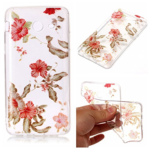2017 Case, Clear Hybrid Fancy Flash Powder Hard Soft Silicone Back Case Cover Fit for Samsung Galaxy J7 2017 Released (Rhododendron) ()