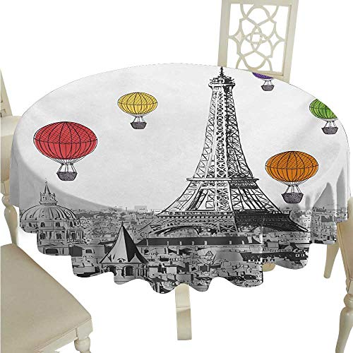 Paris Round Polyester Tablecloth Greyscale Eiffel Tower and Notre Dame Building with Rainbow Colored Hot Air Balloons Washable Polyester - Great for Buffet Table, Parties, Holiday Dinner, Wedding & M