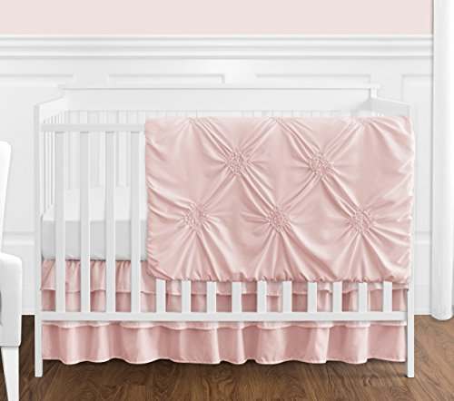 - Solid Color Blush Pink Shabby Chic Harper Baby Girl Crib Bedding Set without Bumper by Sweet Jojo Designs - 4 pieces