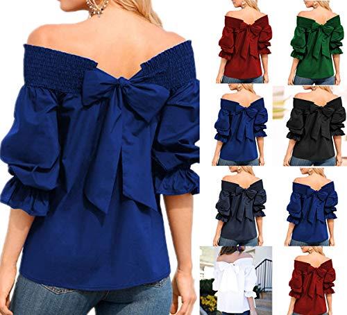 Bluse Scollo T Manica Blu Barca Shirt Indietro Farfalla Shirts Reale Primavera Maglietta Autunno Maglie Blouse Moda Donna Camicie a a Cime Lunga Top vqzCzwE
