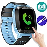 GBD Kids Smart Watches, GPS Tracker Kids Smart Watch for Children Girls Boys Birthday Gifts with Camera SIM Calls Anti-lost SOS Smartwatch for iPhone Android Smartphone (BlueBlack)
