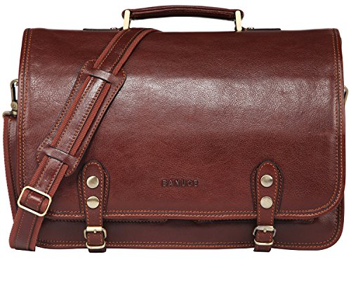 Banuce Italian Leather Flap Messenger Bag Laptop Briefcase with Buckle