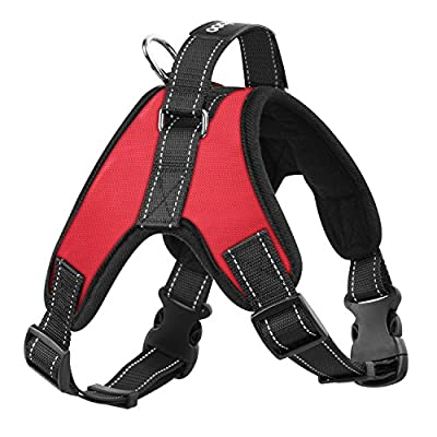 Pawaboo Dog Vest Halter Harness, Adjustable Duarable Heavy Duty Fabric Soft Padded Reflective Dog Vest Harness with Handle on Top for Pet Dog Training Walking, Medium Size.