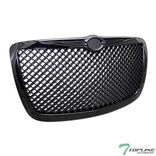 Topline Autopart Black Mesh Front Hood Bumper Grill Grille ABS For 04/05-10 Chrysler 300 / 300C / 300 Touring/Limited/SRT-8