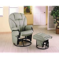 Leatherette Glider Recliner with Matching Ottoman Bone