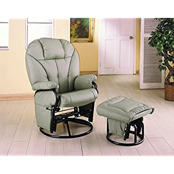 Coaster Knitted Pillow Style Bone Leatherette Swivel Glider Rocking Chair W/ Ottoman