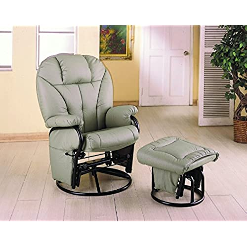 Delicieux Coaster Casual Bone Leatherette Cushion Swivel Glider With Ottoman