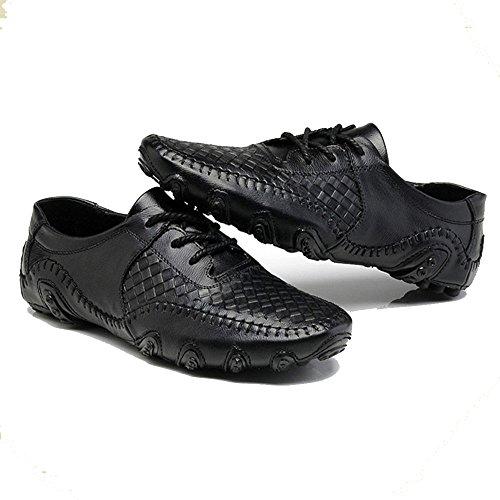 Hombres Ocio Negro Negro Mocasines para de de clásico Cordones de de Cuero Gran tamaño AqnZYH7n
