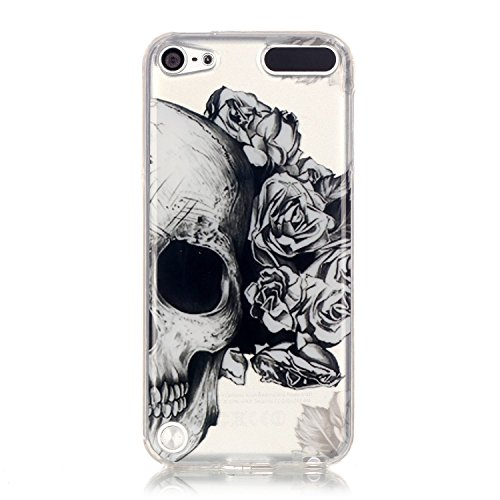 iPod Touch 6 Clear Case, iPod Touch 5 Phone Case Aeeque Slim Fit Transparent Anti-Scratch Soft Rubber Silicone TPU Bumper Cover Protective Case for iPod Touch 6th/5th Generation, Black Skull Flower (Ipod Case Flower 5 Protective)