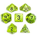 7 Die Polyhedral Dice Set - Swamp Ooze (Green Pearl) with Velvet Pouch by Wiz Dice