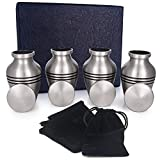 Adera Dreams Small Cremation Urns for Human Ashes Pewter Mini Keepsake Urn Set of 4 - with Premium Case, Funnel and Velvet Carrying Pouches - Miniature Memorial Funeral Urns for Sharing Ashes