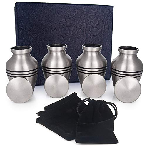 (Adera Dreams Small Cremation Urns for Human Ashes Pewter Mini Keepsake Urn Set of 4 - with Premium Case, Funnel and Velvet Carrying Pouches - Miniature Memorial Funeral Urns for Sharing Ashes)