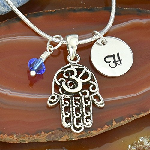 925 Sterling Silver Hamsa Om Hand Pendant Custom Hand Stamped Letter Initial Round Tag Crystal Birthstone Charm Chain Ohm Yoga Delicate Necklace ()