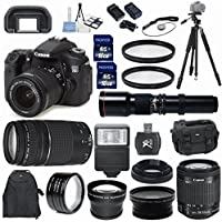 Canon EOS 70D 20.2MP Digital Camera 33rd Street Elite Bundle with 18-55mm IS STM Lens and Canon 75-300mm III Zoom Lens + 2.2x Professional Lens +High Definition .43xWide Angle Lens + 2pcs U.V. Filters + Digital Slave Flash + Professional 50
