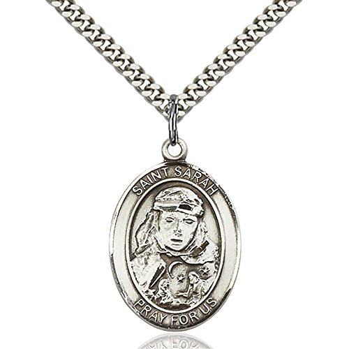Bonyak Jewelry Custom Engraved Sterling Silver St. Sarah Pendant 1 x 3/4 inches with Heavy Curb Chain