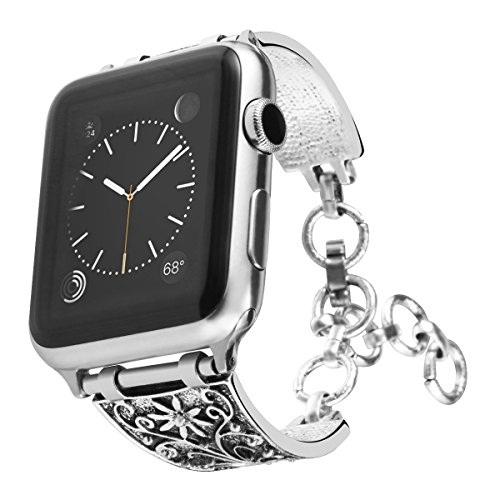 Maxjoy Compatible iWatch Band 38mm 40mm, Vintage Chain Jewelry Bracelet with Rhinestone Bling for iWatch Series 4/3/2/1 Nike+ Sport Edition Women Silver