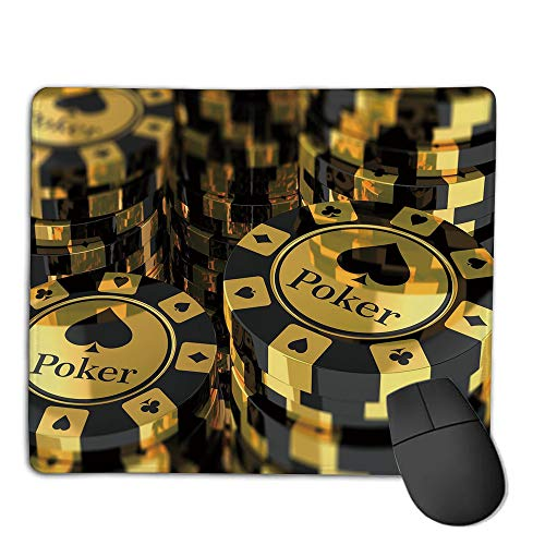 Stack Twin Aluminum (Mouse Pad Custom,Mouse Pad Non-Slip Thick Rubber Large MousepadPoker Tournament Decorations,Gold and Black Poker Chips Gambling Club Currency Stack Wager Decorative,Gold Black,Suitable for Any Mouse)