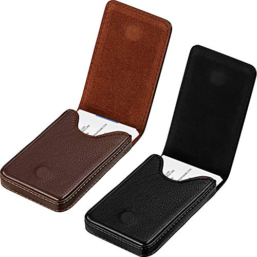 2 Pieces Business Card Holder, Business Card Wallet PU Leather Business Card Case Pocket Business Name Card Holder with Magnetic Shut Credit Card ID Case/Wallet (Black and Coffee)