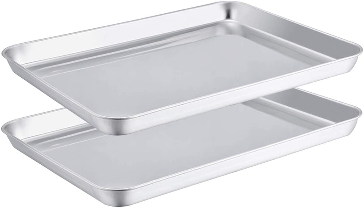 TeamFar Toaster Oven Pans Set of 2, Stainless Steel Compact Toaster Oven Tray Ovenware, 8''x10''x1'', Non-Toxic & Healthy, Easy Clean & Dishwasher Safe, Roll Edge & Mirror Finish