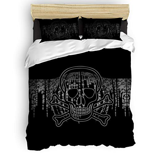 (YEHO Art Gallery Full Size Beding Sets Kids Duvet Cover Sets,4 Pieces Include 1 Comforter Cover 1 Bed Sheets 2 Pillow Cases,Horrible Skeleton Skull Head Pattern Bed Sheet Set)
