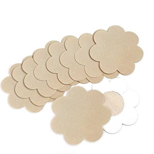 Flower Bras Bra - NippleCovers, Sexy Breast Pasties Adhesive Bra Petal Tops Nippleless Cover Disposable (Beige 10 Pairs)