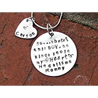 Mommy necklace, this girl stole my heart, Boy stole my heart, Hand stamped jewelry, Custom hand stamp, who stole my heart, personalized jewelry, mom gift