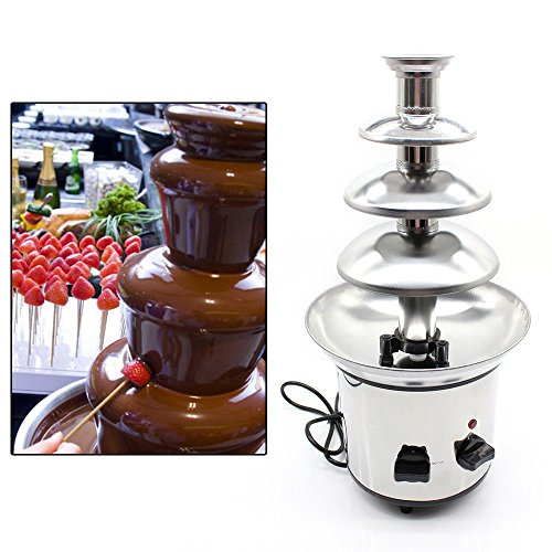 WUPYI 4-Tier Chocolate Fondue Fountain,Commercial Stainless Steel Chocolate Cheese Melting Machine 110V 170W,Max Capacity 1KG,for Party,Restaurant,Wedding