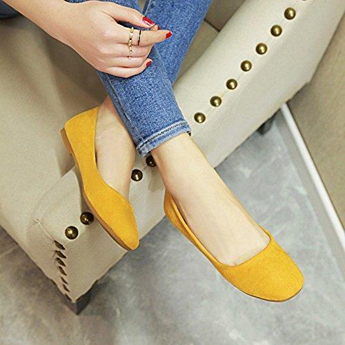 Showhow Slip De Corte Bajo Para Mujer, Con Diseño De Corte Redondo, En Los Zapatos De Color Amarillo