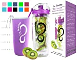 Live Infinitely 32 oz. Fruit Infuser Water Bottles with Time Marker, Insulation Sleeve