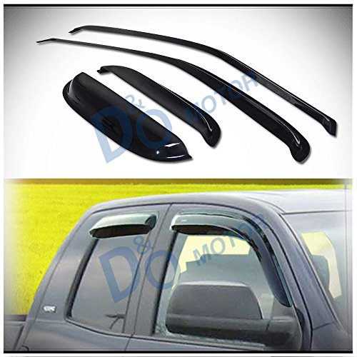 D&O MOTOR 4pcs Front+Rear Smoke Sun/Rain Guard Outside Mount Tape-On Vent Shade Window Visors For 95-04 Toyota Tacoma Access/Extended Cab With Half Size Rear Doors