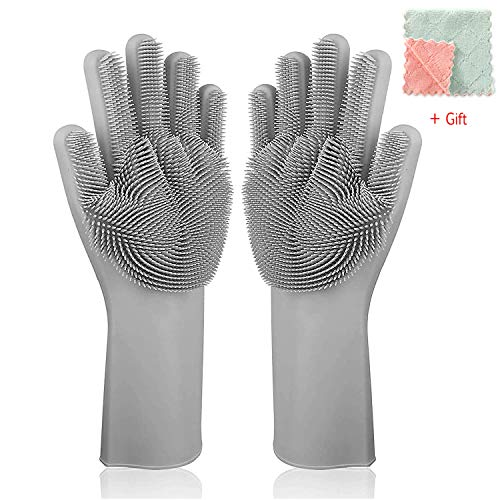 UPSTONE Magic Silicone Dishwashing Scrubber, 2 in 1 Reusable Rubber Gloves, Heat Resistant Kitchen Tool for Household, Dish Wash, 13 x 6 x 1 in in, Gray