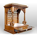 Aarsun Woods Wooden Temple with Elephants and Full Length Drawer(Brown, 24x18x36-inch)