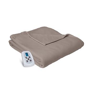 Amazon.com: Serta Brushed Microfleece Electric Heated Blanket with ...