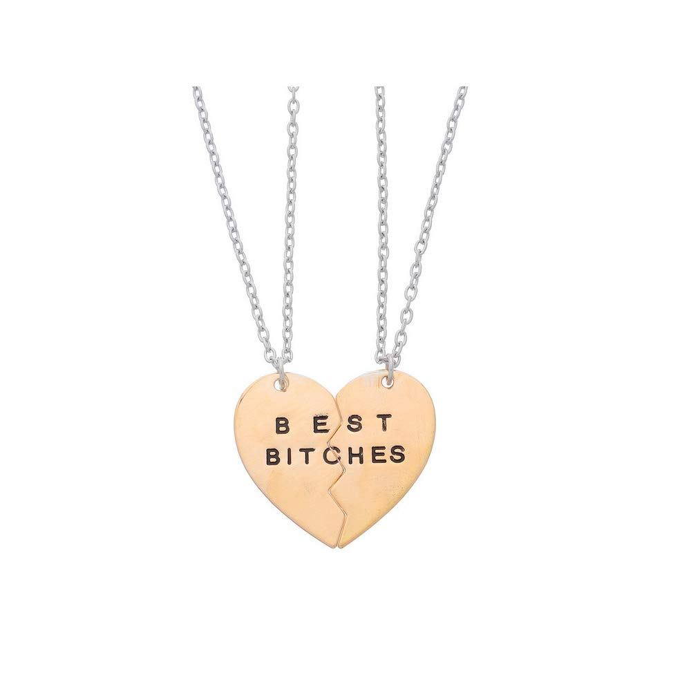 Set of 2 Pieces Best Bitches Necklace in Gold ,Best Friend Necklace BBF Jewelry
