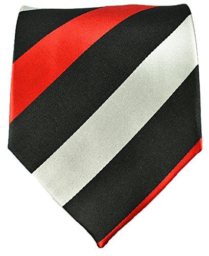 Paul Malone Extra Long Necktie 100% Silk Black Red Silver Striped
