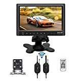 "Podofo Bluetooth Wireless Backup Camera System 7"" Slim Car Monitor USB MP5 Player & Mini Rear View Camera Night Vision Waterproof"