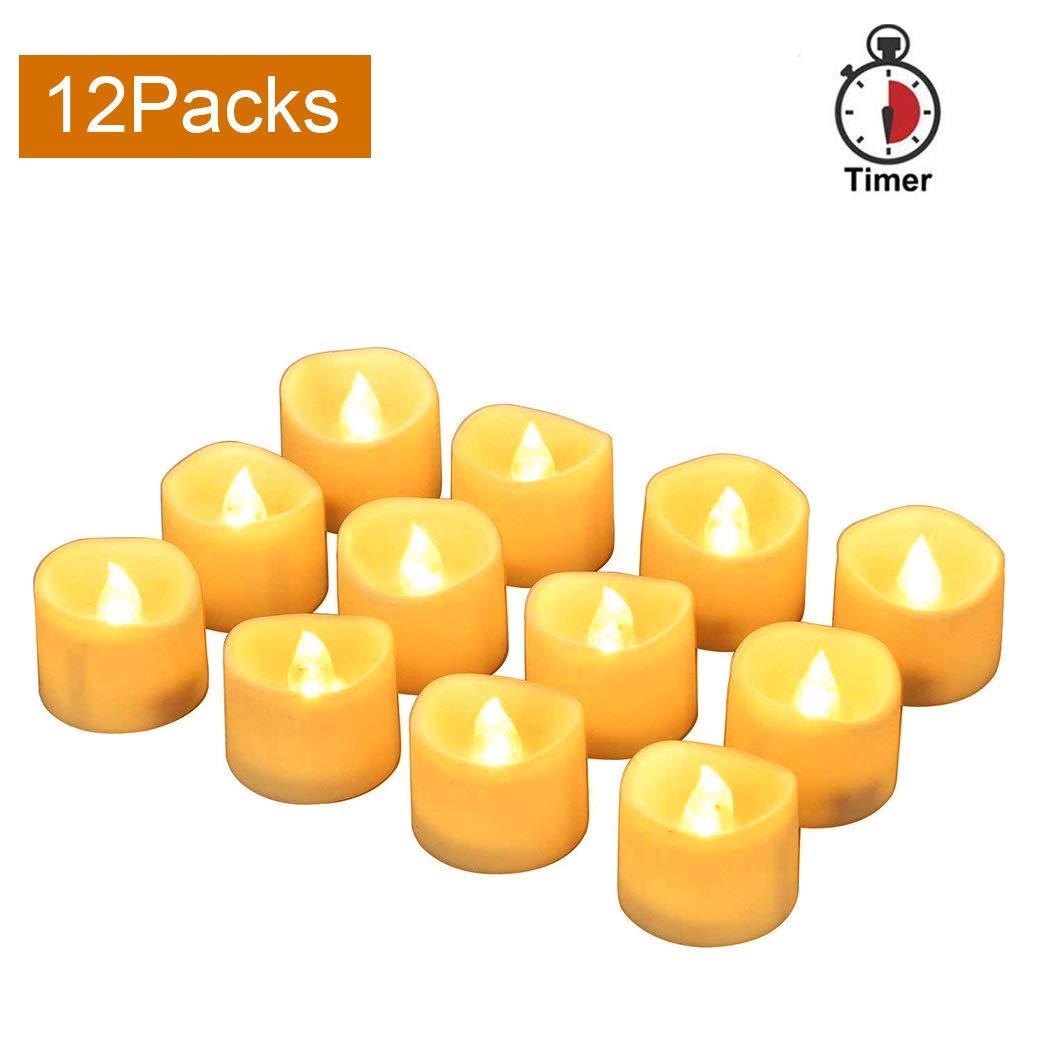 LED-Teelicht led-Kerzen, led teelichter mit timer teelichter elektrische Kerzen Teelichter flammenlos inkl. Timer flackernd LED Kerzen 12 Stücke mit Batterie (gelb) CoolEnding